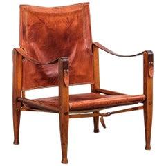 Kaare Klint Safari Chair in Patinated Tan Leather, Rud Rasmussen, Denmark, 1960s