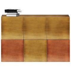 Contemporary Cucu Sideboard or Credenza in Brushed Brass with Copper