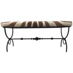 Glamorous French Hand-Wrought Iron and Faux Zebra Bench