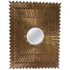 Shimmering Huge Rectangular Italian Giltwood Sunburst Mirror