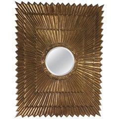 Shimmering Impressively Large Rectangular Italian Giltwood Sunburst Mirror