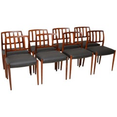 Set of Eight 1960s Danish Dining Chairs by Niels Moller