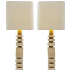 Pair of Travertine and Brass Italian Table Lamps
