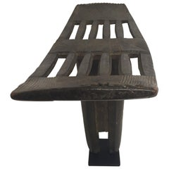 Antique African Hand-Carved Gurange Bench Chair