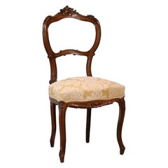 19th Century Italian Walnut Chairs, Pair