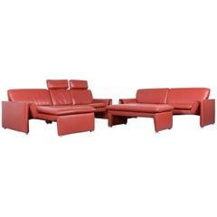 Laauser Corvus Designer Sofa Corner-Sofa Footstool Set Leather Red Couch