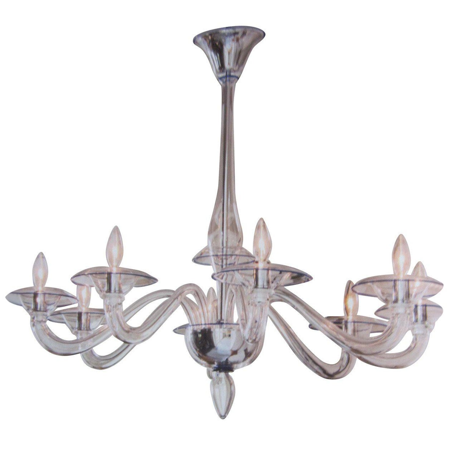 Italian Art Deco Sculptured Glass And Chrome Chandelier In Pink, 1940s