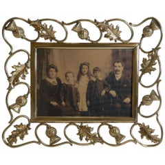 Antique Scottish Brass Photograph Frame, Thistles, circa 1890