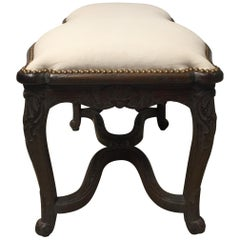 Sensational Curvy Irregular Shaped French Carved Walnut Bench