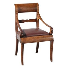 Circa 1850, Italian Walnut and Leather Occasional/ Office Chair