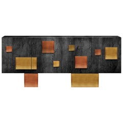 Contemporary Silenus Sideboard or Credenza with Oak Veneer and Brass and Copper