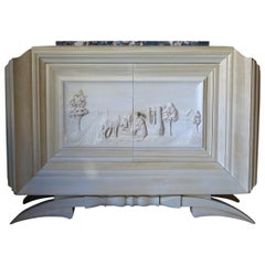 Carved Credenza by Dominique, France, 1930s