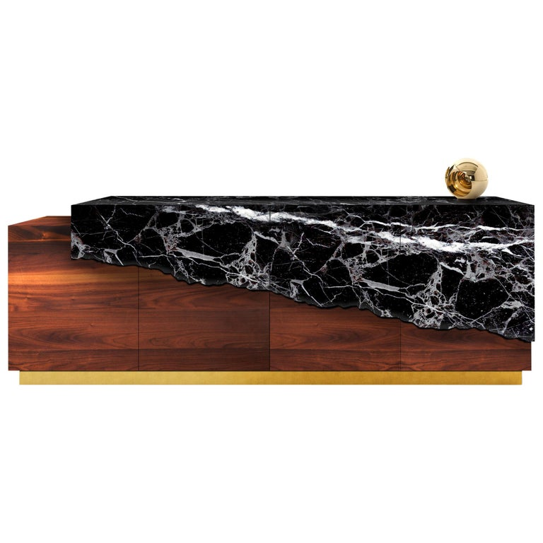Contemporary Argentina Sideboard or Credenza in Marble, Walnut and Brass