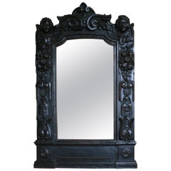 Baroque Frame Mirror from Benrath Castle in Germany, Oak, 17th Century