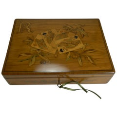 Fabulous Marquetry Inlaid Olive Wood Games or Playing Cards Box, French