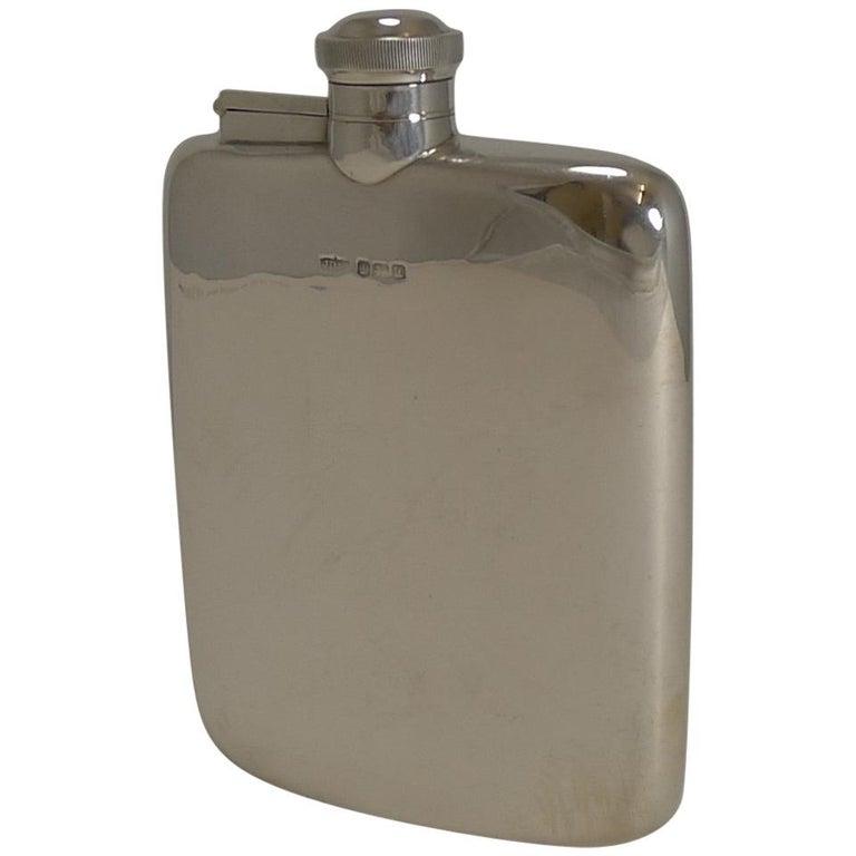Handsome Antique English Sterling Silver Hip/Liquor Flask - Sheffield 1918