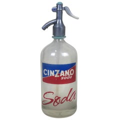 1950s Vintage Glass Italian Soda Syphon Seltzer Logo Cinzano Soda Bar Bottle