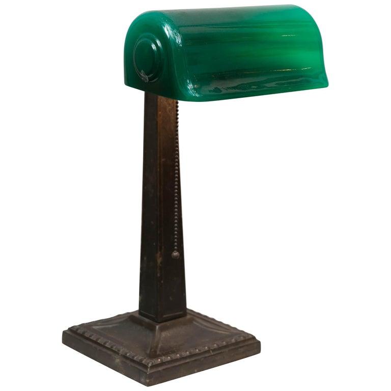 Green Shaded Banker's Lamp, Signed Verdelite, circa 1917