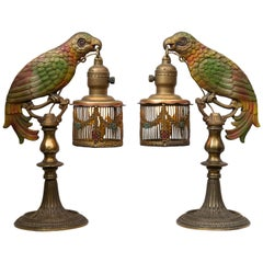 Pair of Painted Parrot Lamps, circa 1920s