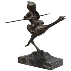 Orientalist Bronze Group, Young Child Riding an Ostrich