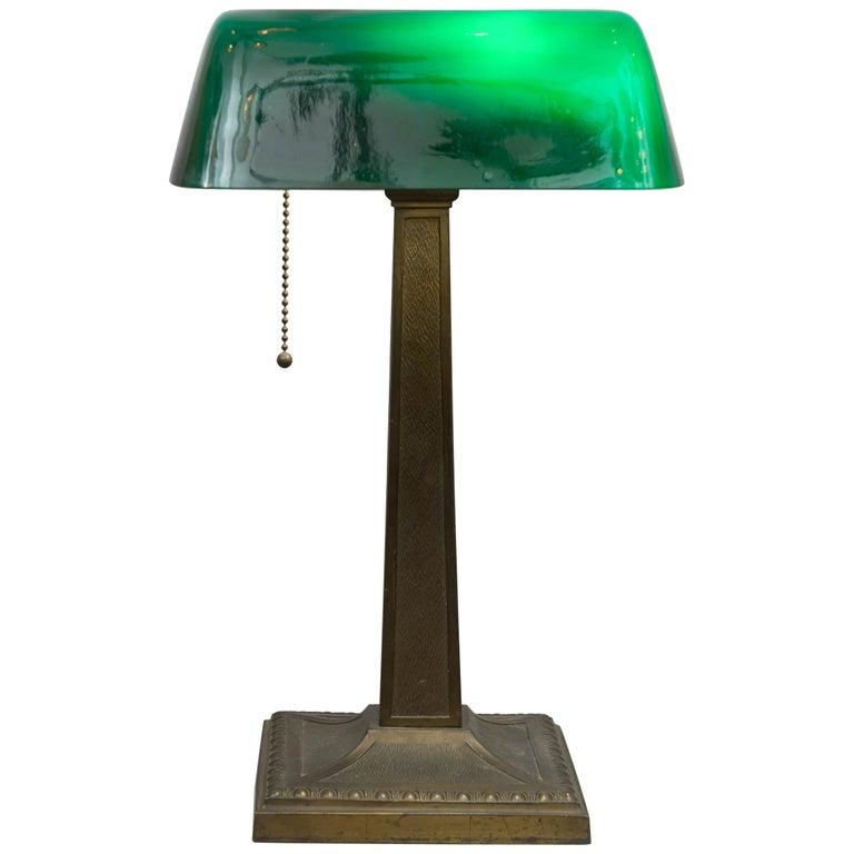 Antique Green Shade Banker's Lamp, Signed Amronlite