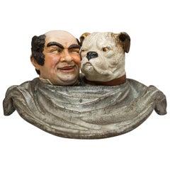 Cold Painted Vienna Bronze Group, Man & His English Bulldog Dining