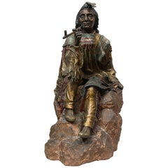 Large Austrian Cold Painted Bronze Figure of an Indian by Carl Kauba, circa 1900