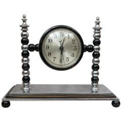 Art Deco Midcentury Chrome and Black Clock