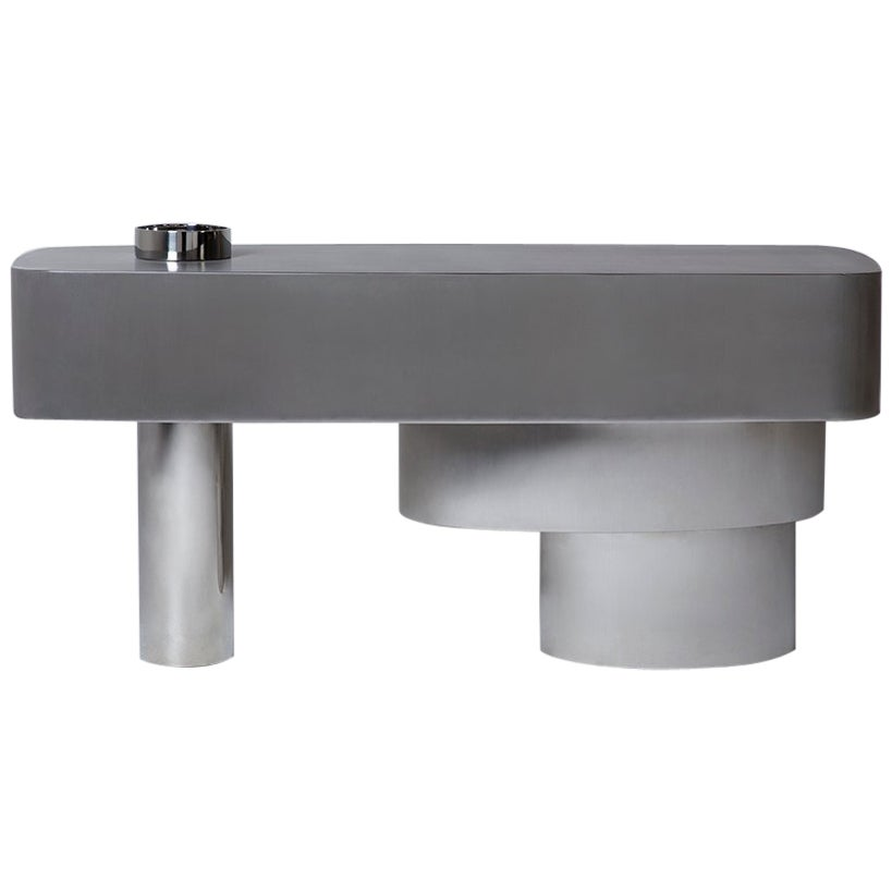 Contemporary Futuristic Console Table in Stainless Steel