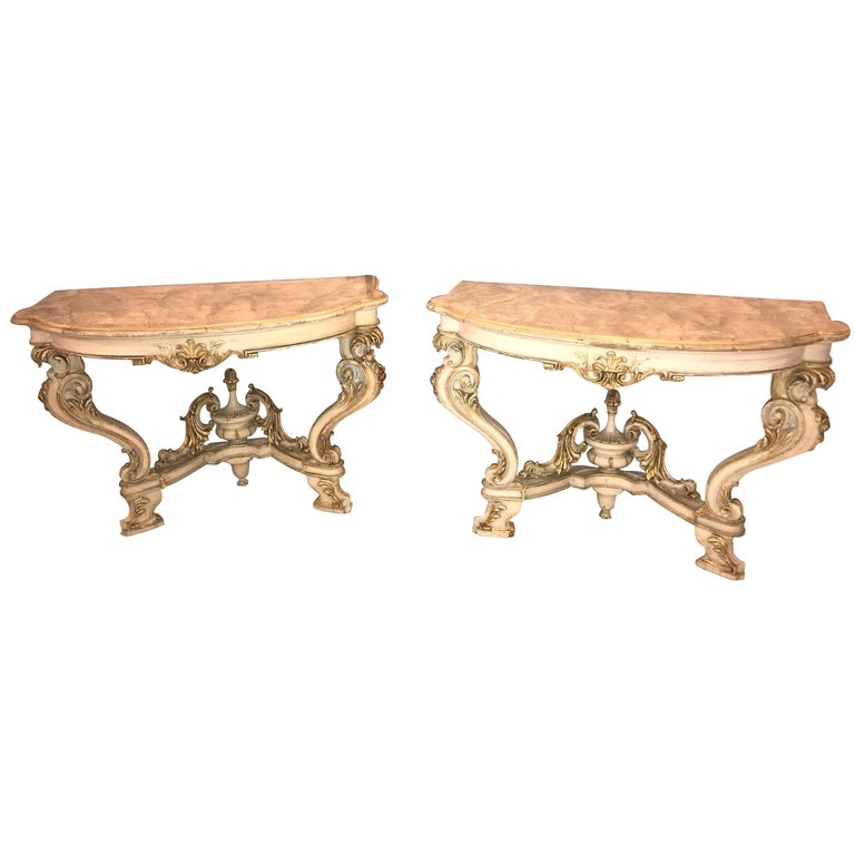 Pair of Italian Parcel Paint and Gilt Decorated Faux Marble-Top Console Tables