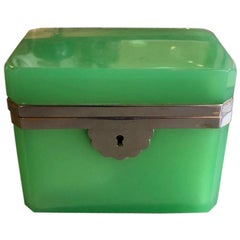 French 19th Century Green Opaline Box