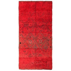 Vintage Gallery Size Double Sided Red Berber Moroccan Rug