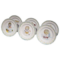 Set of Six French Hand-Painted Ceramic Hot Air Balloon Plates from Brittany