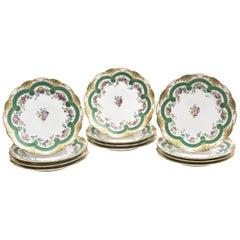 Set of 12 Museum Quality Feuillet Painted Old Paris Porcelain Plates, circa 1830