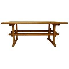 Pine and Oak Stretcher Base Trestle Table