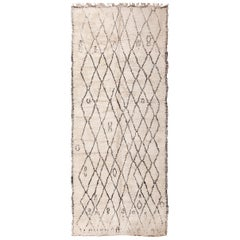 Gallery Size Vintage Moroccan Beni Ourain Rug