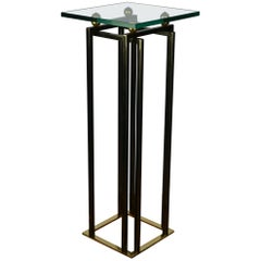 1980s Brass and Chrome Console Table, Pedestal Belgo Chrome