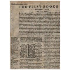 """Creation!"" Genesis 1-2 Geneva Bible Leaf 1577 London Edition"
