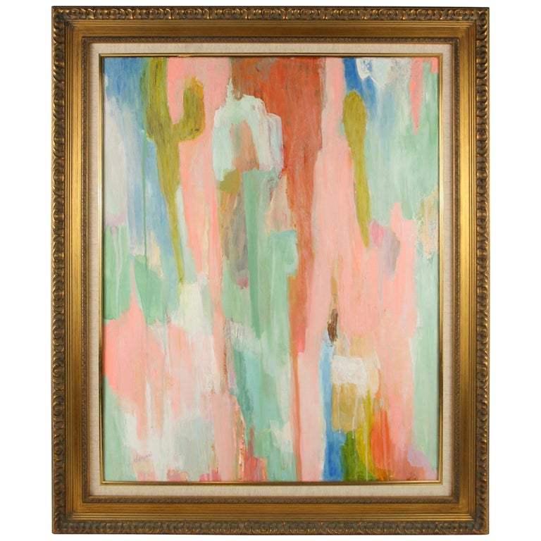 Pink Dripping Abstract Painting For Sale
