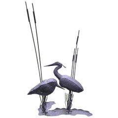 Folk Art Sculpture of Two Shorebirds