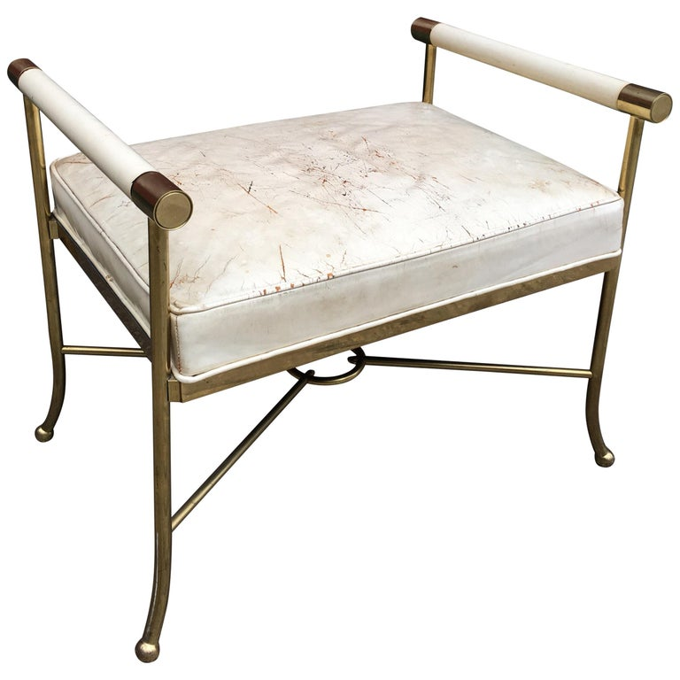 Brass and Leather Bench