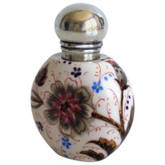 19th Century Perfume or Scent Bottle Porcelain Hand-Painted Floral, Victorian