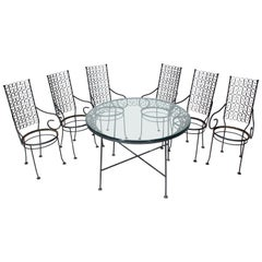 Seven Pieces Outdoor Set of Six Armchairs Glass Top Table, Salterini Attributed