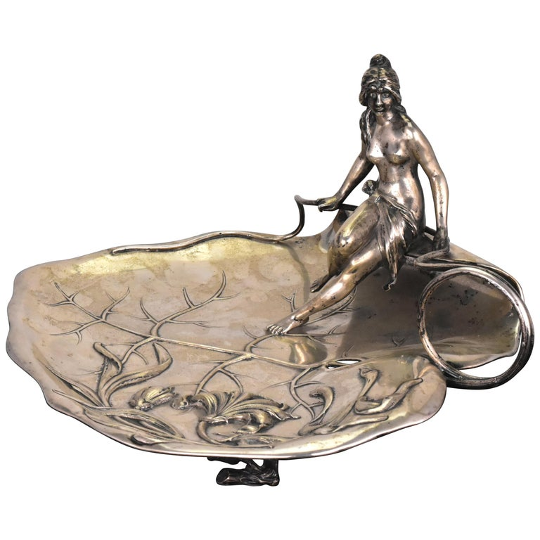 Austrian .800 Silver Art Nouveau Serving Tray with Semi Nude Seated Figure