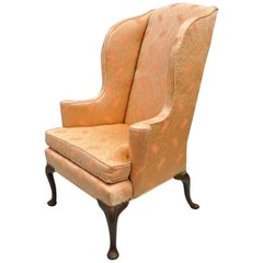 Antique Queen Anne Wingback Armchair Chair Rolled Arms