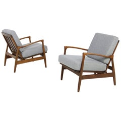 Pair of 1960s Solid Teak Easy Chairs, Organic Shape Lounge Chairs, Danish Modern