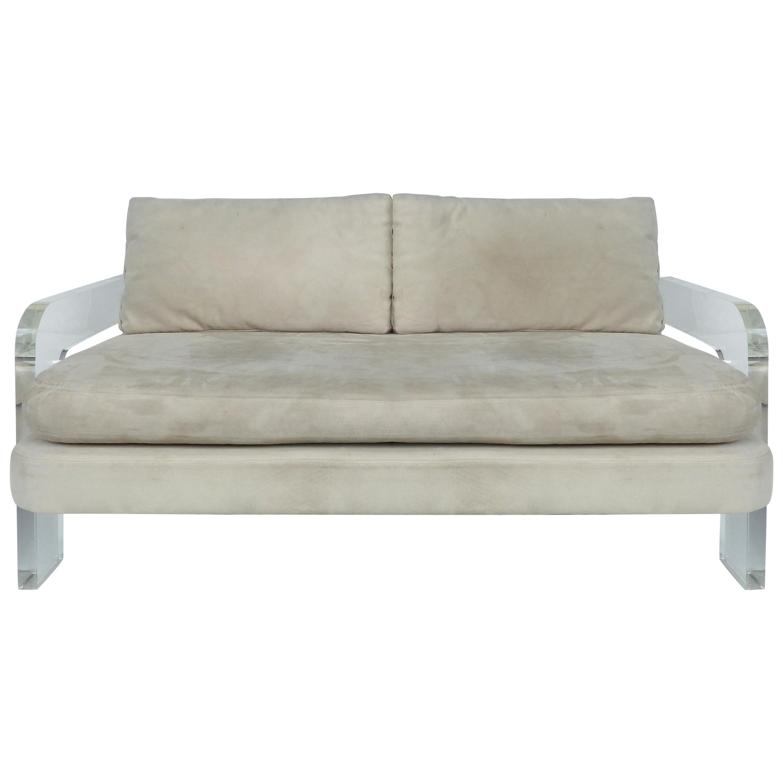 Mid Century Modern Lucite Loveseat Sofa