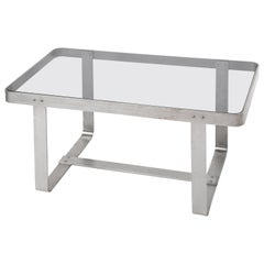 Art Deco Brushed Nickel and Smoked Glass Table
