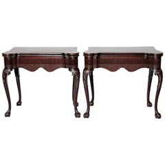 Pair of Irish Chippendale Carved Mahogany Concertina Card Tables