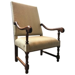 19th Century Uplholstered French Armchair with Walnut Legs